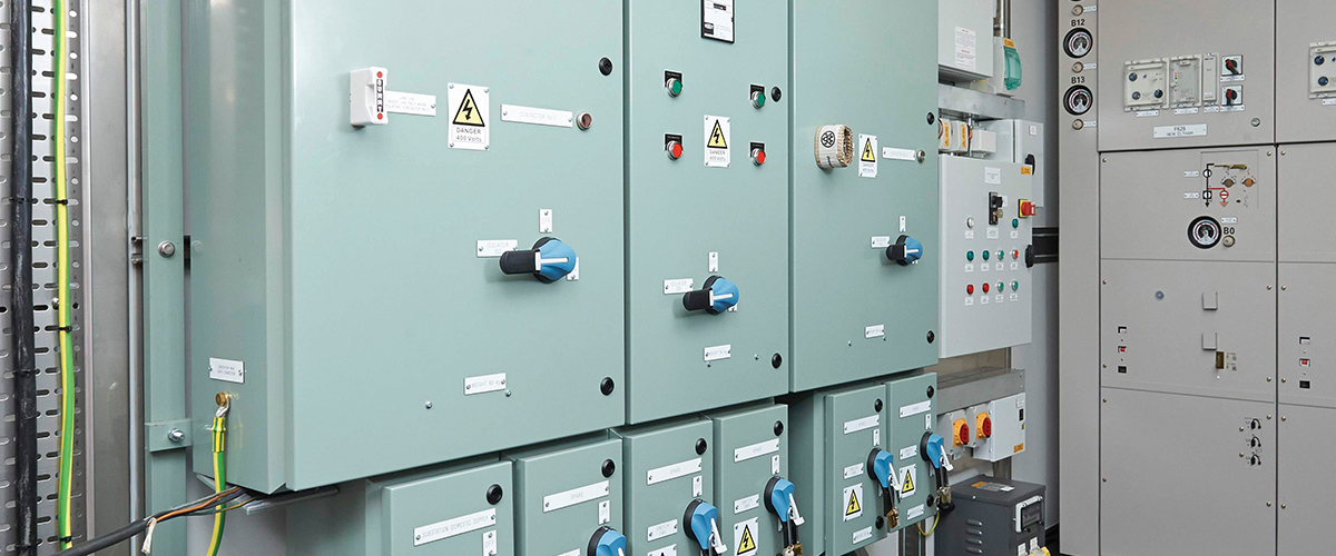 Control cupboards holding control instruments & switchgear.