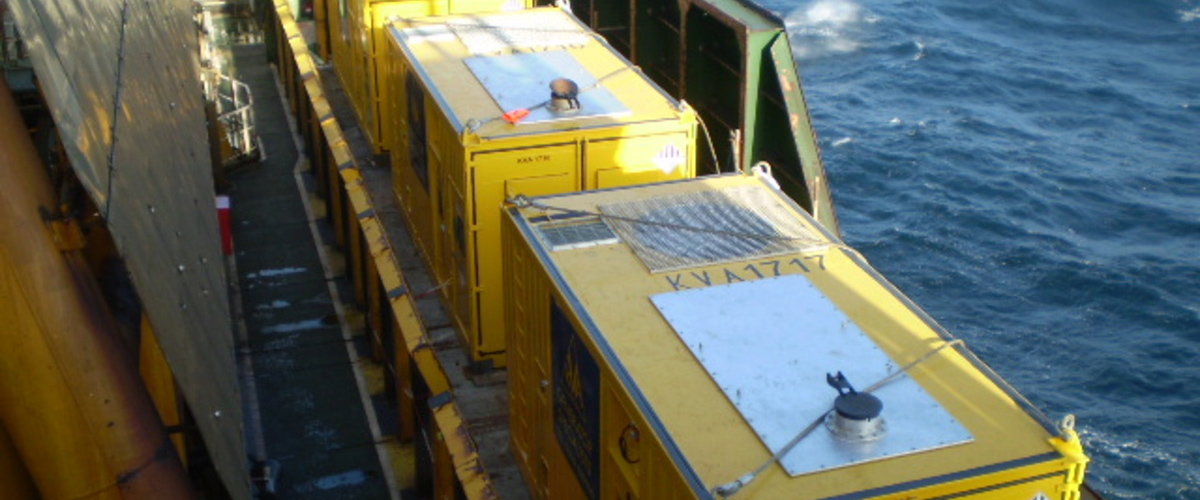 Offshore containers in use.