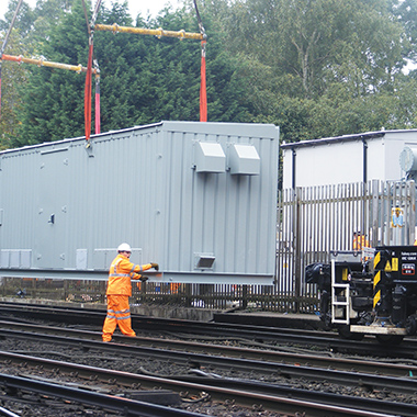 Steel container being put into place.
